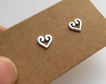 925 Heart SIlver Stud Earrings