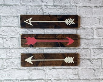 Rustic Wooden Arrows - 3 PIece Set, Farmhouse Decor, Wooden Arrow, Arrow Decor, Baby Room Decor, Wooden Arrow Wall Art