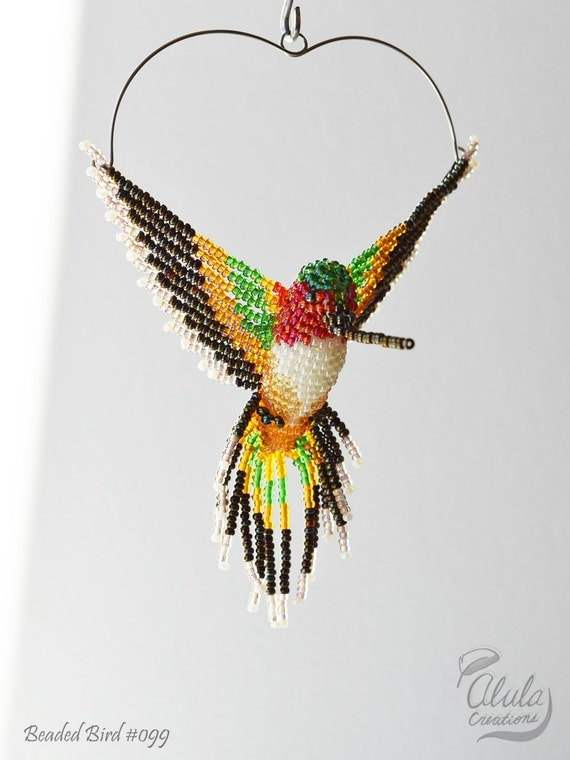 beaded bird suncatcher hummingbird window decor by