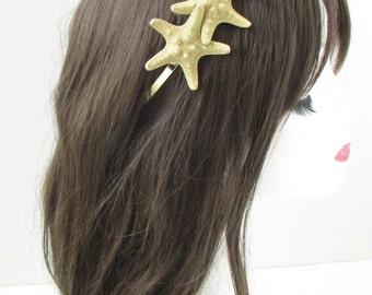 Gold Starfish Headband Beach Headpiece Hair Crown Little Mermaid Ariel Boho 258