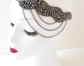 Silver Beaded Chain Headpiece Vintage 1920s Headband Flapper Great Gatsby L58 Dark Silver Charcoal Grey