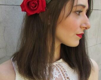 Red Rose Flower Hair Comb Vintage Rockabilly Bridal Clip 1950s X-38