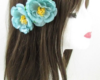 2x Turquoise Blue Wild Rose Flower Hair Clips Bridesmaid Vintage Rockabilly X-27