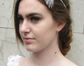Silver Rhinestone Feather Leaf Headpiece Vintage 1920s Bridal Headband Tiara W81