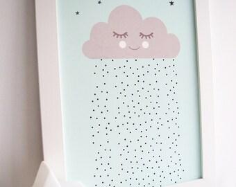 Sleepy raincloud baby print, nursery print, nursery art, baby room, kids room Print