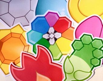 Kanto Badges Pokemon 8 Piece Sticker Pack