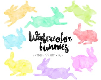Watercolor Easter Bunny Clip Art. Spring Bunny Silhouette Clipart. Hand Painted Pastel Easter Bunnies. Invitation Clipart. Pink, Peach, Lime