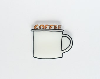 Coffee Addict flair. Enamel mug pin perfect gift for a caffeine lover. #muglife brooch.