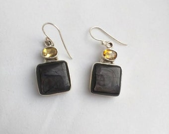 Beautiful Gold Sheen Obsidian Earrings 925 Sterling Silver with Citrine Hooks Gemstone Jewelry Healing Reiki