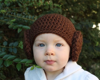 Princess Leia baby hat, Made to order, princess leia costume,  star wars costume, baby princess leia, princess leia hat, princess leia baby