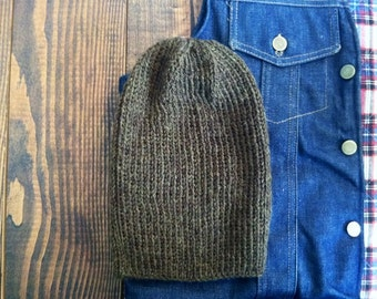 15% OFF! Hand Knit Wool Beanie - Olive - One Size Fits Most