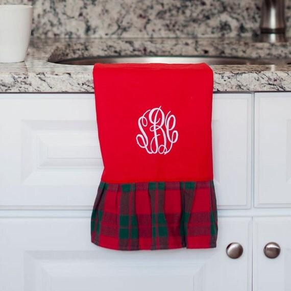 Christmas Kitchen Towel, Monogrammed Christmas Kitchen Towel, Christmas Hand Towel, Red Plaid Tea Towel, Christmas Decor, Hostess Gift