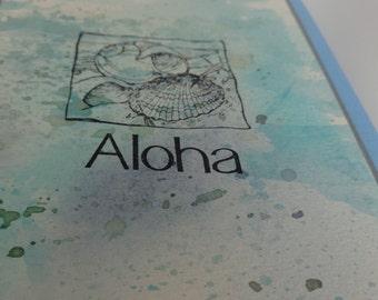 """Hawaiian """"Aloha"""" greeting card with seashells"""