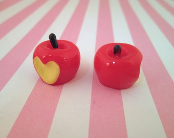 Red Apple Cabochons With a Heart Shaped Bite, #795b