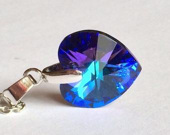 Blue Swarovski Heart Necklace, Crystal Helio Swarovski Pendant, Swarovski Jewelry