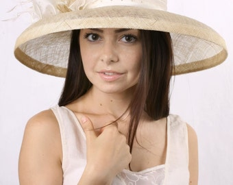 Cream wedding hat, widebrim bridal hat, Royal Ascot hat, Kentucky derby hat, Summer Wedding hat, Tea Party hat, derby style hat, Bridal hat