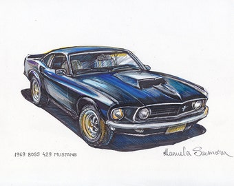 1969 Boss 429 Ford Mustang Painting Sports Car Art Automotive Wall Art Print Popular Classic Muscle Car Gift For Men Race Car Illustration