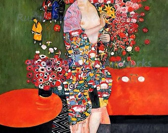 "Gustav Klimt ""The Dancer"" 1918 Reproduction Digital Print Woman Dancing Flowers Colorful Wall Hanging"