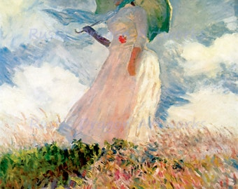 """Claude Monet """"Woman with a Parasol"""" 1886 Reproduction Digital Print Woman Flowers Wall Hanging"""