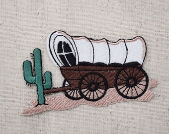 Covered Wagon - Pioneers - Western - Desert - Cactus - Iron on Applique - Embroidered Patch