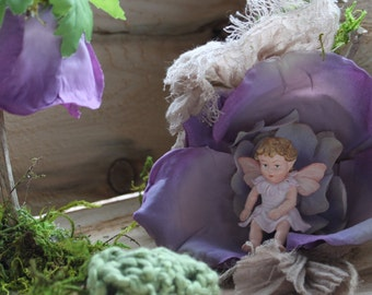 Woodland Petal Lamp (Twinkle Light), Hydrangea Bunting and Pillow BABY FAIRY INCLUDED  ~ Terrarium Accessories, Fairy Lamp, Miniature Garden