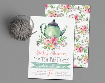Tea Party Invitations, Baby Shower Invite Printable, Tea Pot, Florals,  Watercolor Gender