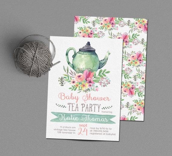 tea party invitations baby shower invite printable tea pot florals