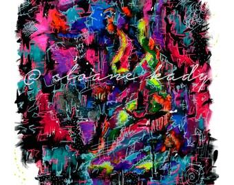 Abstract Art Print, Mixed Media Print, Mixed Media Painting, Bright Painting, Modern Art, Art, Painting, Art Print, Radical Colors, Rad