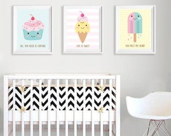 Nursery Art Print Set of 3 Prints - Baby Room Wall Art Set - Kids Room Decor - Printable Art Set - Cupcake - Ice Cream - Popsicle