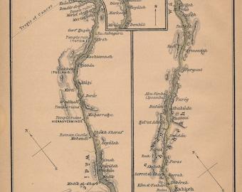1929 Nile River Egypt Antique Map
