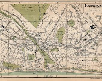 1920 Bournemouth United Kingdom (Great Britain) Antique map