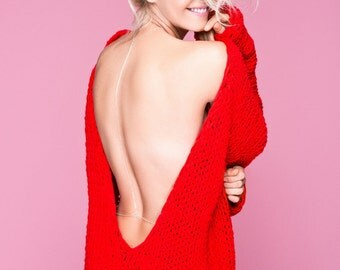 30% OFF Chunky Knit Red Dress, Cozy Long Knitwear