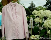 Pale pink vintage button-up ruffle collared peasant blouse, size XL-2X