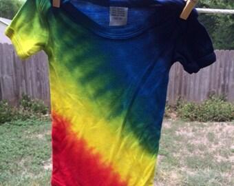 Rainbow Tie Dye Onesie (6 months) - Bamboo Tie Dye for Baby