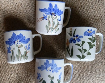 Four Vintage 1980's Hand Painted Blue, Green and Cream Floral Coffee / Tea Mugs