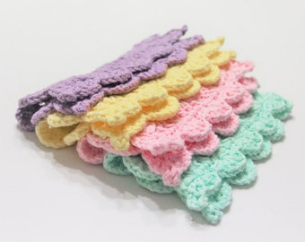 Cotton Crochet Dishcloth, Mint/Pink/Yellow/Lavender Crochet Washcloth Set of 4, Cotton Crocheted Washcloth, Cotton Dishcloths, Hostess Gift