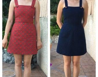 1960s dress / 60s dress / mod dress / scooter dress / pleated dress / twiggy dress/90s dress / mini dress/ jumper dress /denim mini dress