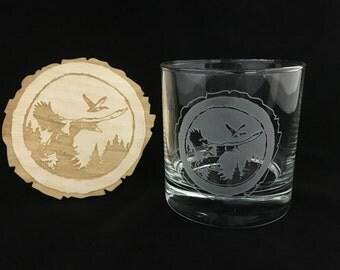 Duck hunting, Mallard, Duck hunter, Whiskey glass, hunting gifts, gifts for hunter, whiskey, Wood coaster, free gift, Log, outdoors,