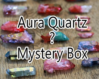 Mystery aura quartz box, mystery box, surprise crystal, aura quartz crystal, mystery bag