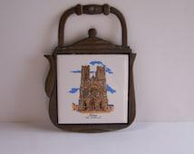 Vintage cast iron trivet fonte tuile trivet Reims  Cathedral vintage  Made in France
