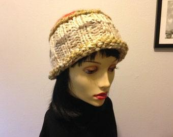 Ivory yellow orange knit hat