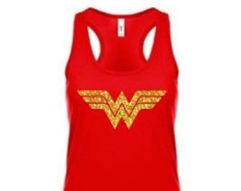 Wonder Woman Glitter Tank Top Costume Super Hero Next Level DC Comics
