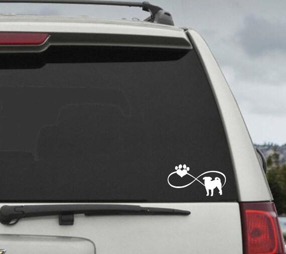Pug Infinity Paw Heart Decal  - Car Window Decal Sticker