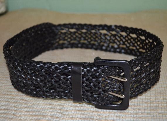 Belt Liz Claiborne, Black Leather Belt 1 Size Fits All, Wide Black Leather Belt, Liz Claiborne Belt, Black Belt