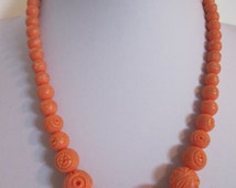 Vintage Carved Coral Celluloid Bead Necklace