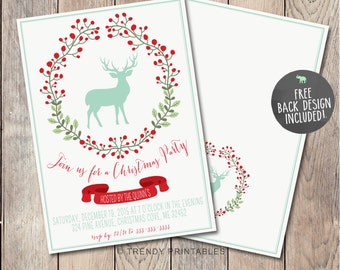 Christmas Party Invitation, Christmas Invitation, Christmas Dinner Invitation, Christmas Cheer, Rustic Christmas Invitation, Reindeer [297]