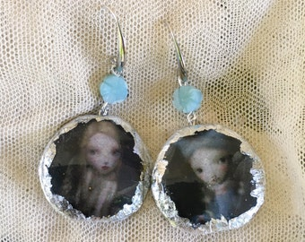 """Earrings with silver leaf. """"Dolls"""""""