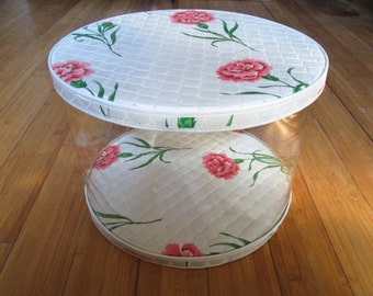 Very Cool Retro 1950's Plastic Hat Box Wig Box Round clear plastic with quilted top and bottom RARE Find Pink Carnations