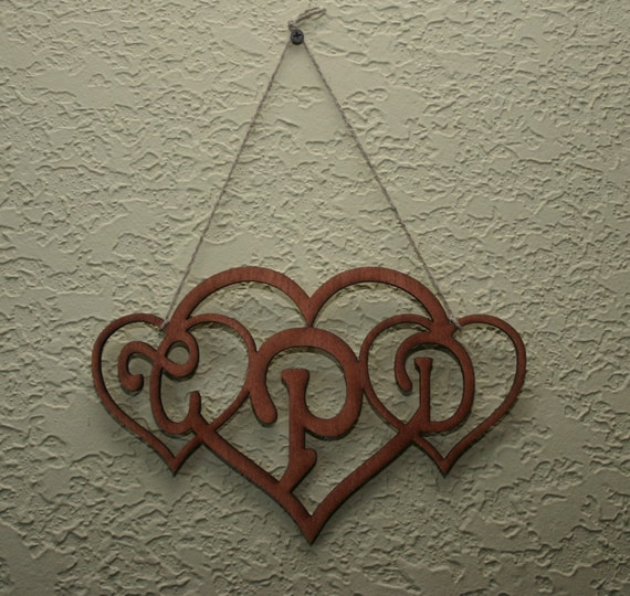 Rustic Monogram Wall Decor : Monogrammed initials heart art wall decor by intothewoodlaser