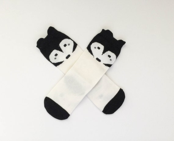 CLEARANCE Black and White Toddler Knee High Fox Socks Baby